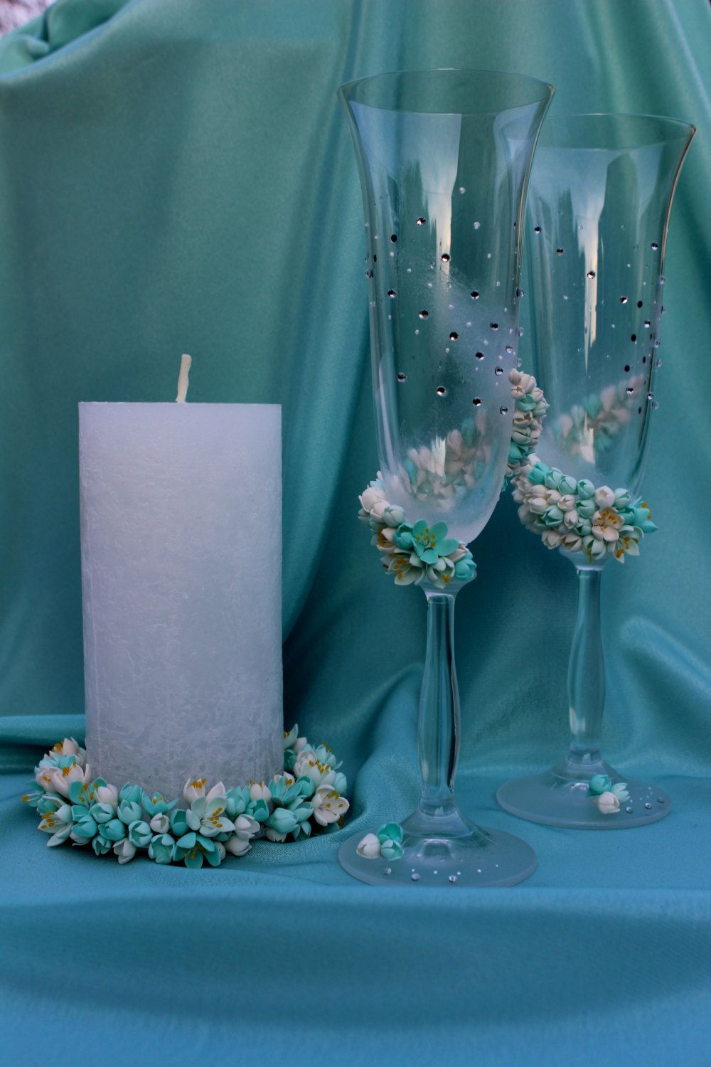 Mint Color Wedding Set Gles Candle Accessories Gift