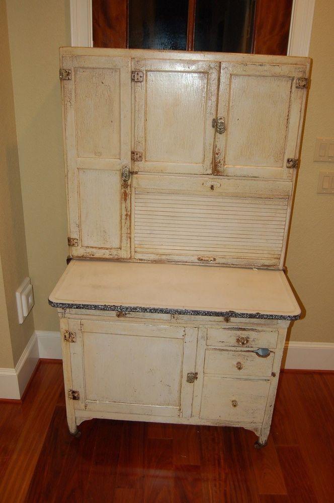Details About Antique Hoosier Cabinet With Porcelain Top Vintage