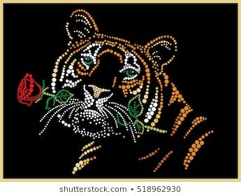 Tiger with a rose in teeth