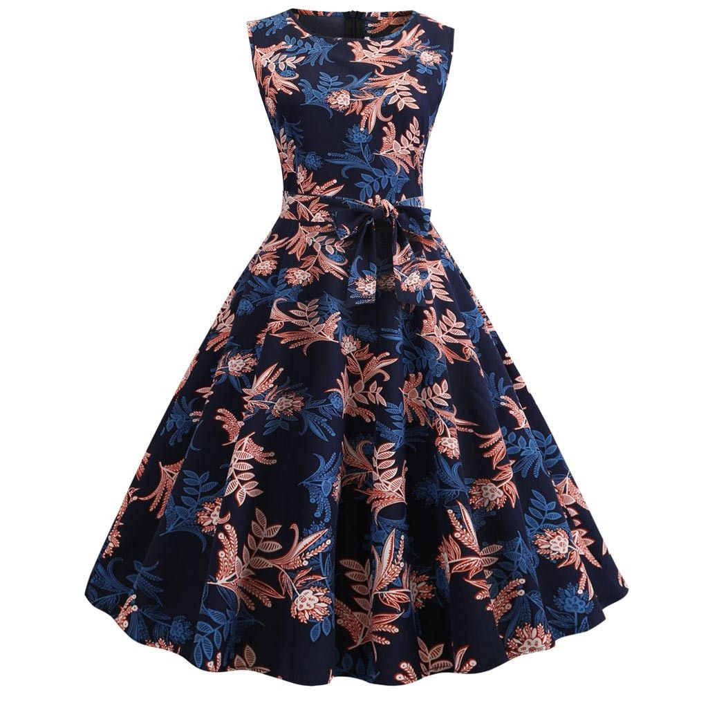 Women S Vintage Sleeveless Print Casual Evening Party Prom Swing Dress Summer Day Dresses Dresses Vintage Dresses [ 1024 x 1024 Pixel ]