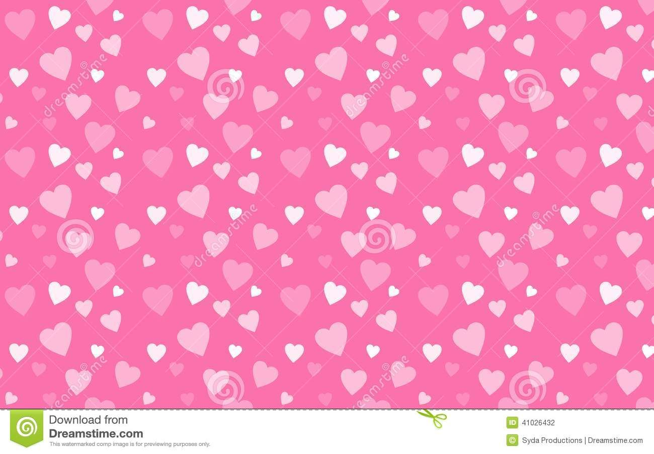 pink wallpaper with white hearts stock illustration - image