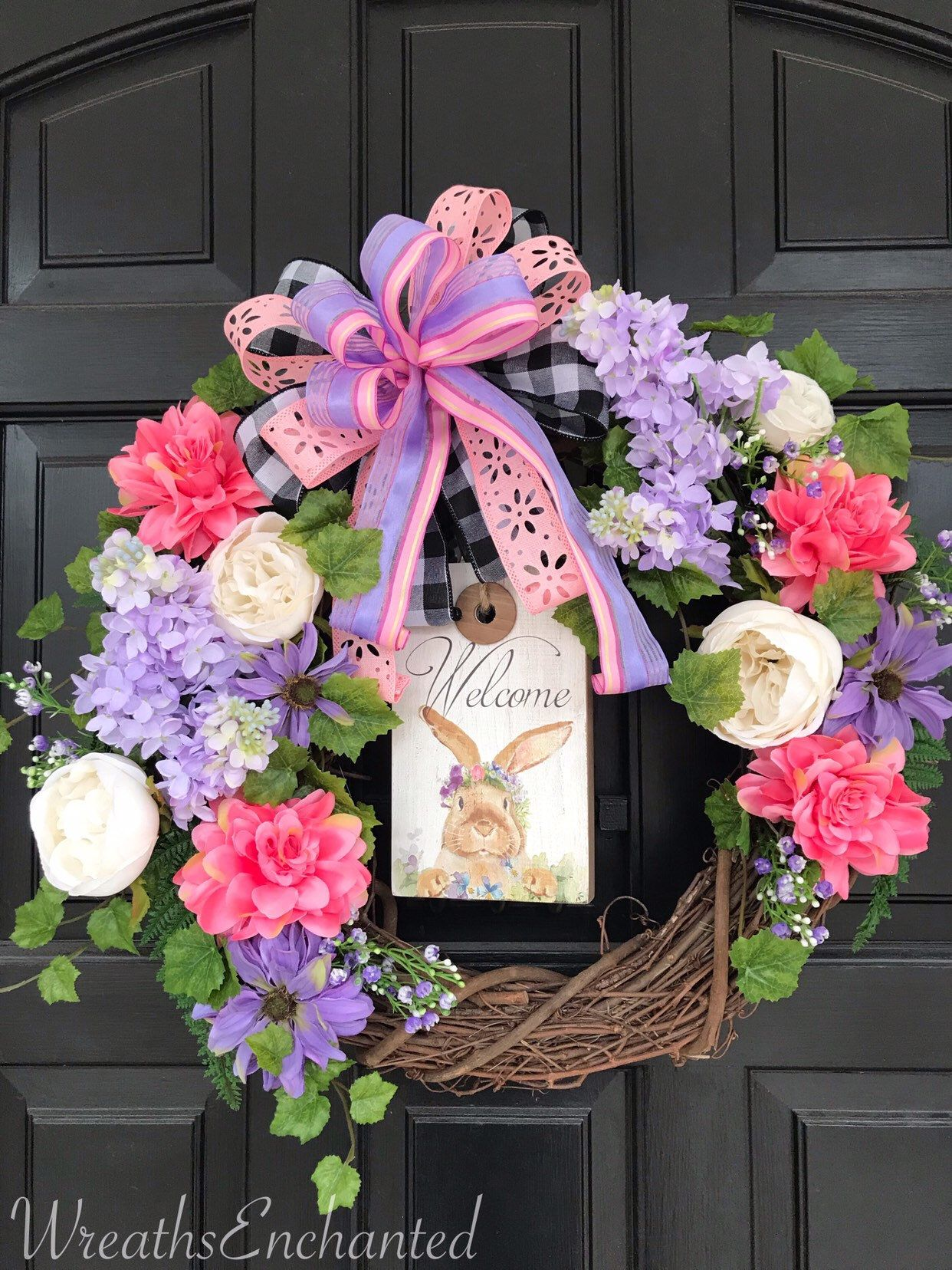 Easter Wreath Front Door Spring Wreath Bunny Welcome Easter Decor Pink Lavender Lilac Rose Floral Wreath Free Shipping In 2020 Spring Wreath Easter Wreaths Wreaths