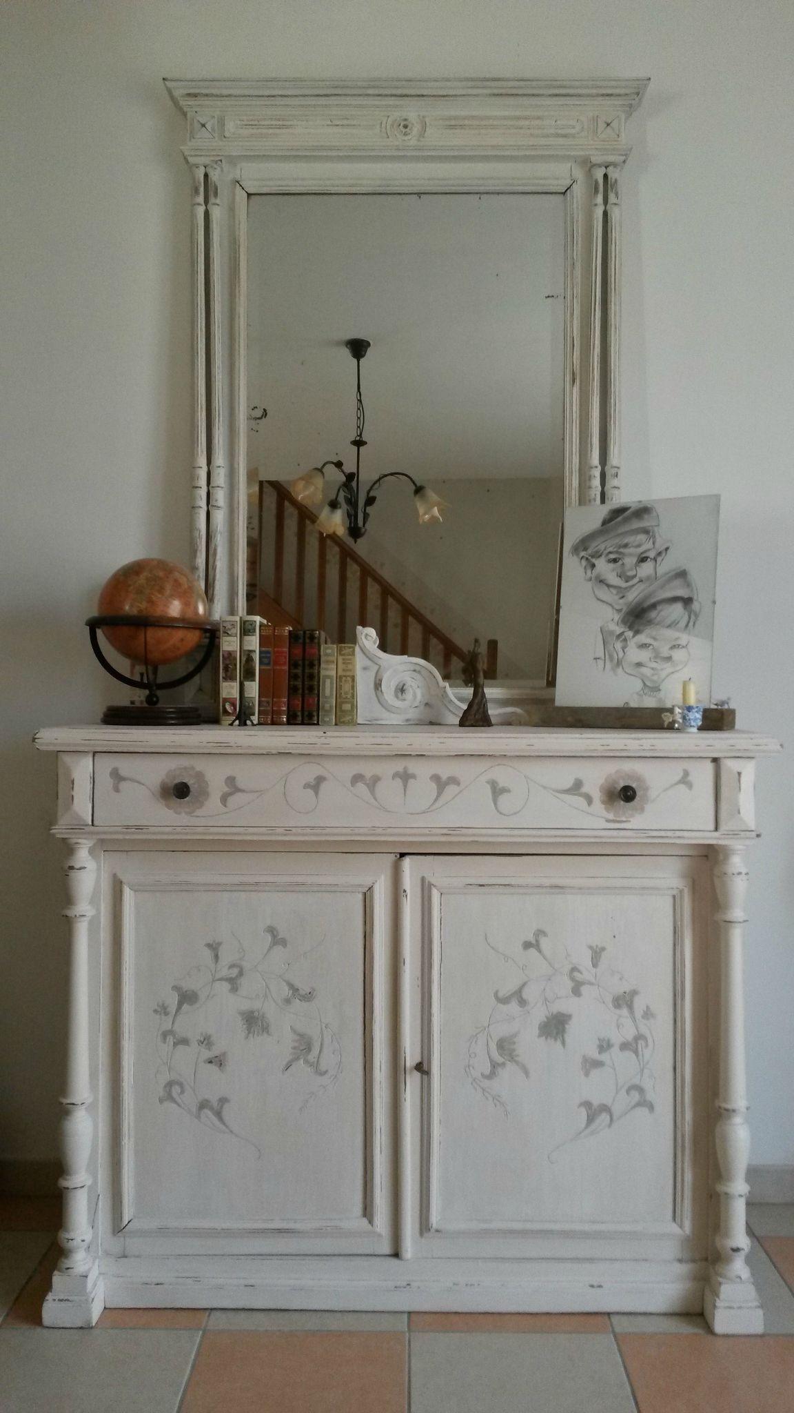 Buffet 1900 Relook Et Miroir Henri Ii Meuble Peint Pinterest  # Bonnetiere En Pin Brute