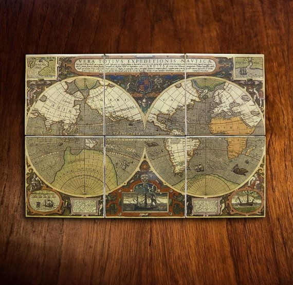 Antique world map mural ca 1595 by darlhacdesign on etsy kitchen antique world map mural ca 1595 by darlhacdesign on etsy gumiabroncs Image collections
