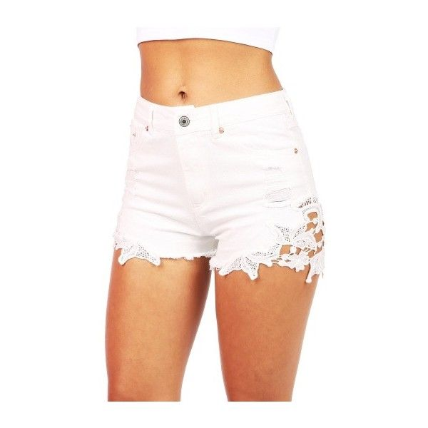 Flora Trim High Waist Shorts   Trendy Shorts at Pink Ice ($38) ❤ liked on Polyvore featuring shorts, bottoms, destroyed jean shorts, ripped jean shorts, distressed jean shorts, high-waisted denim shorts and destroyed denim shorts