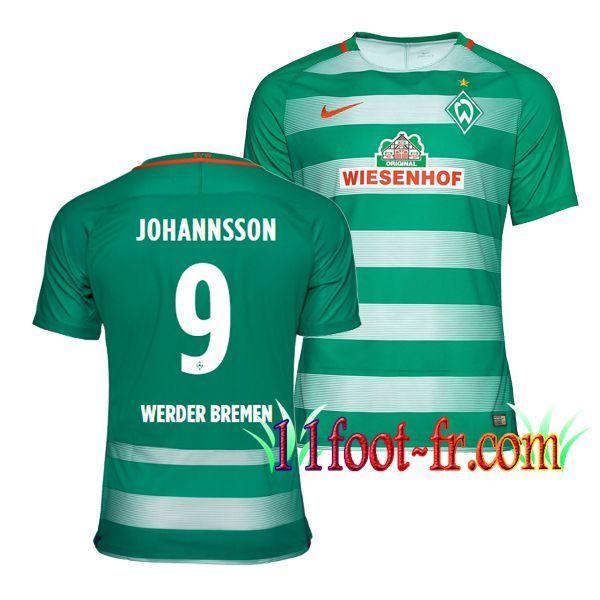 Maillot de Werder Breme 2016/17 Homme JOHANNSSON 9 Domicile Vert et Blanc Manche Courte   Personnaliser en Thailande