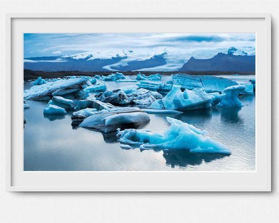 Home D\u00e9cor Ocean Iceberg Blue Canvas Iceland sunrise Landscape Fine Art print Travel Nature Beach Iceland Icebergs