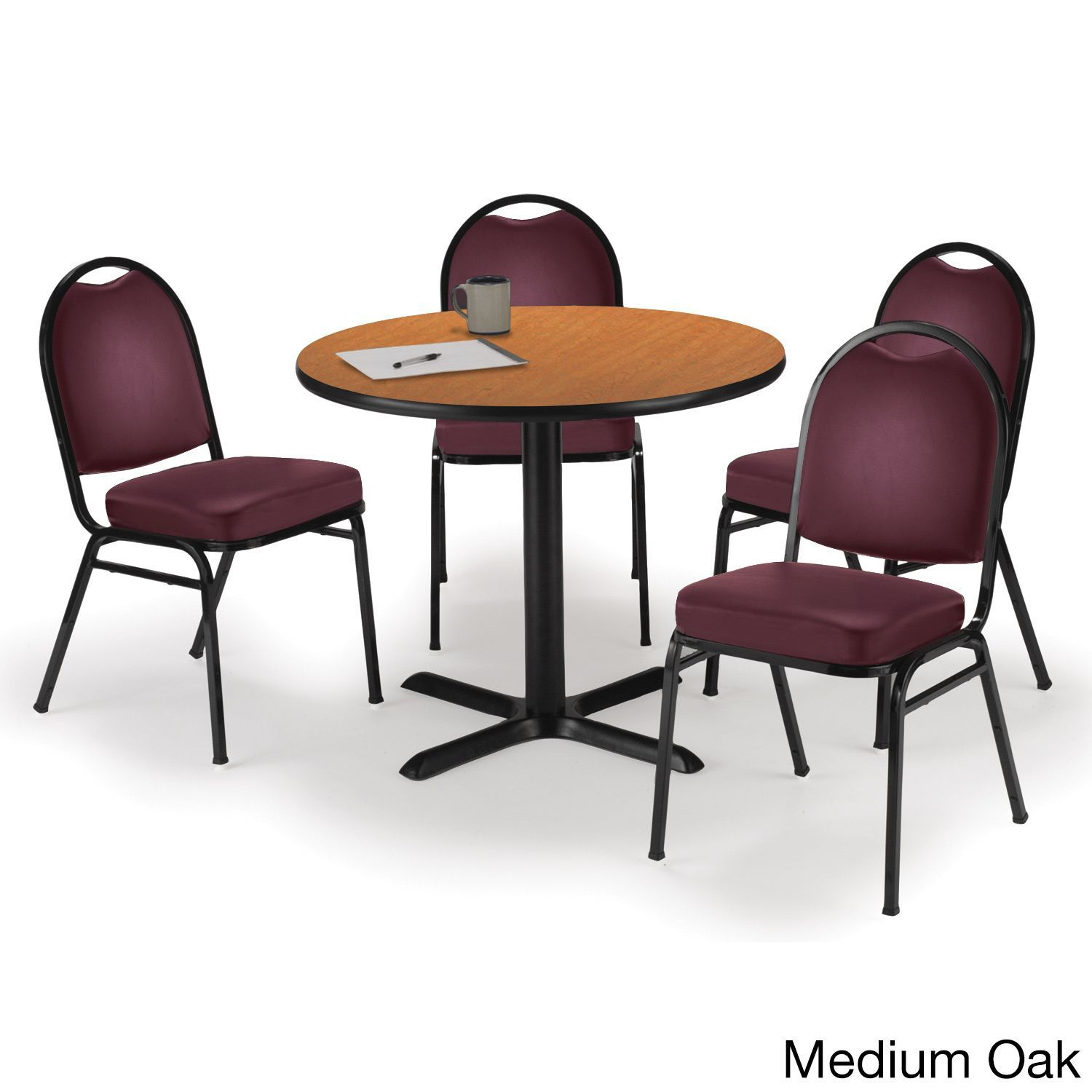 Round 36 inch Pedestal Table with 4 Armless Stacking Chairs inch