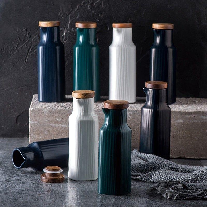 1 piece nordic style oil bottle ceramic kitchen supplies sauce vinegar seasoning storage on kitchen organization oil and vinegar id=26288