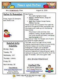 Parent Involvement Linky Party Preschool Newsletter Classroom