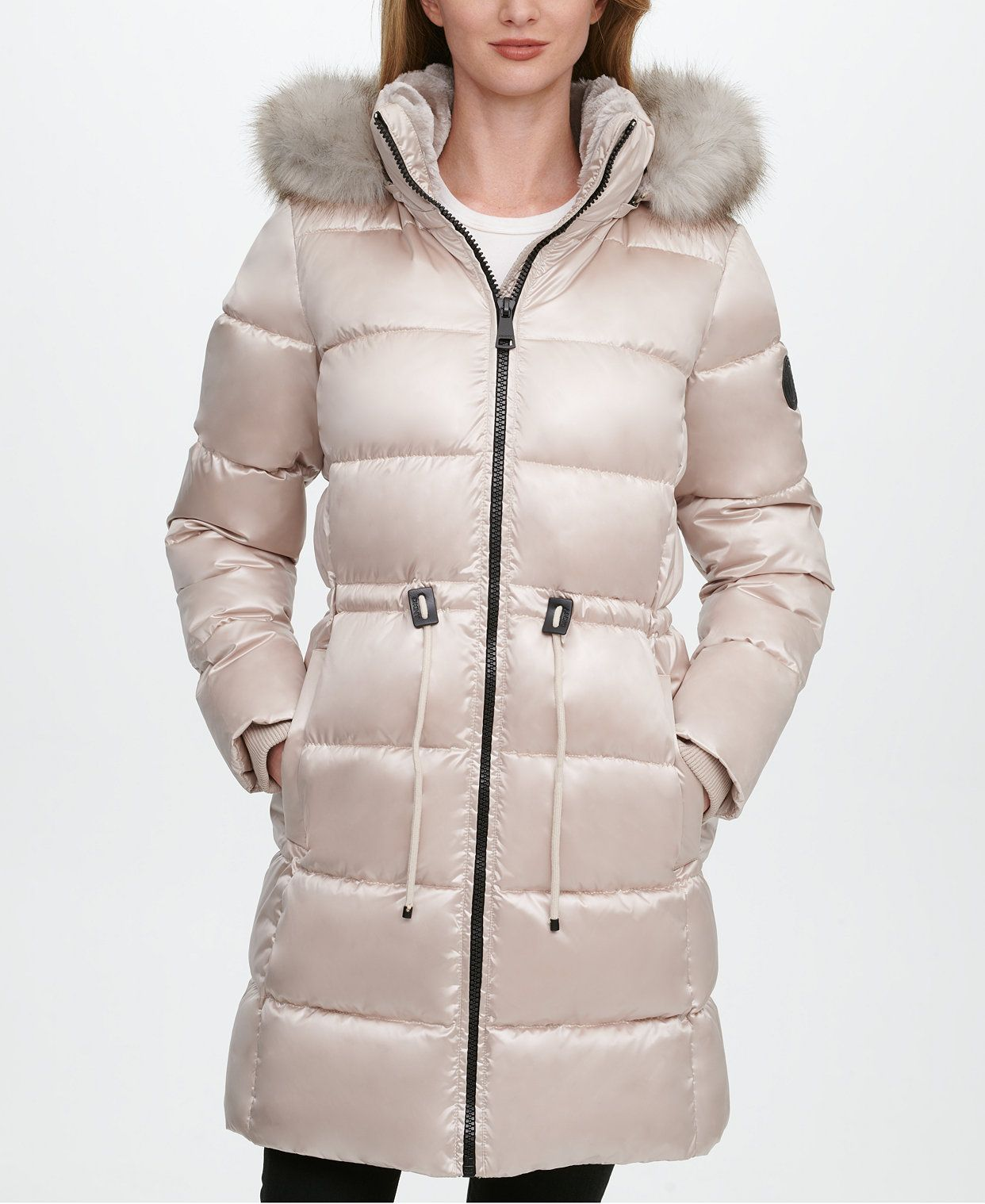 Dkny High Shine Faux Fur Trim Hooded Puffer Coat Created For Macy S Reviews Coats Women Macy S In 2021 Women S Puffer Coats Puffer Coat Fur Trim [ 1518 x 1242 Pixel ]