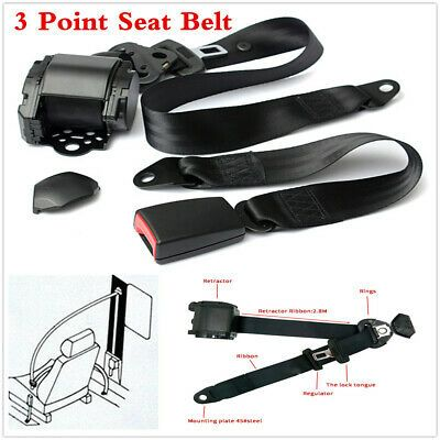 Gray 3 Point Retractable Car Safety Seat Belts Lap Safety Belt Iron Plate Style