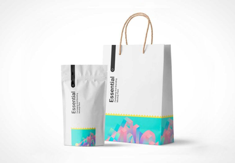 Download Sealed Pouch And Paper Shopping Bag Psd Mockup Paper Shopping Bag Shopping Bag Design Pouch Packaging