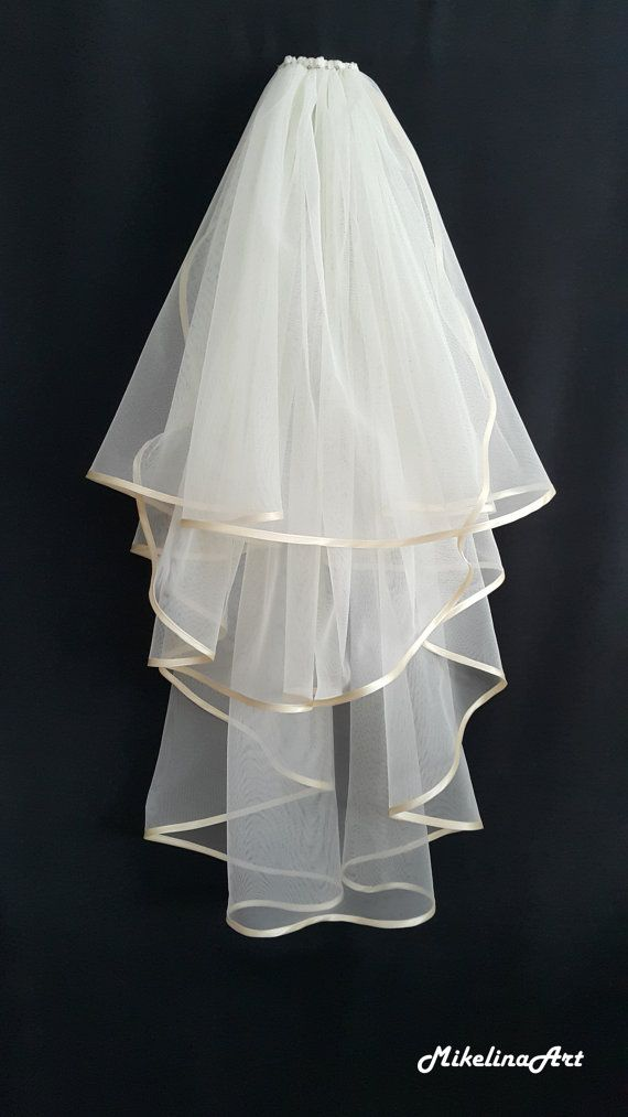 Ivory Wedding Veil Three Layers Etsy In 2020 Ivory Wedding Veils Wedding Veils Lace Wedding Dress With Veil