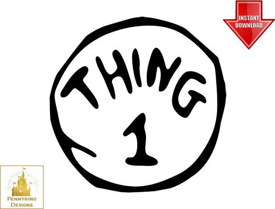 Dr Suess Thing 1 and Thing 2 Logo T Shirt Decal by Pennyring