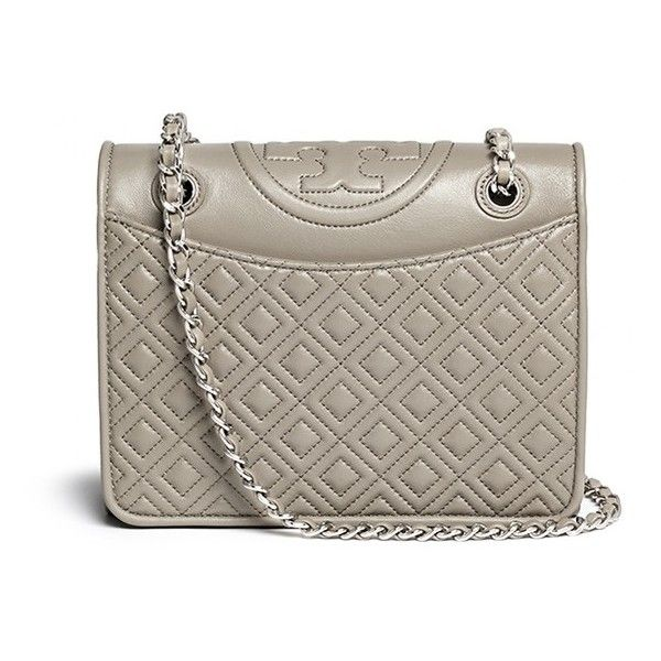 Tory Burch 'Fleming' medium quilted leather bag (£420) ❤ liked on Polyvore featuring bags, handbags, grey, mini handbags, print purse, brown handbags, mini purse and chain handle handbags