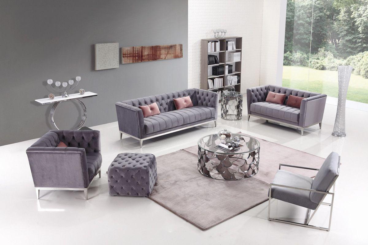 Divani Casa Loftis Transitional Grey Velvet Sofa Set Velvet Sofa Set Velvet Sofa Living Room Grey Velvet Sofa