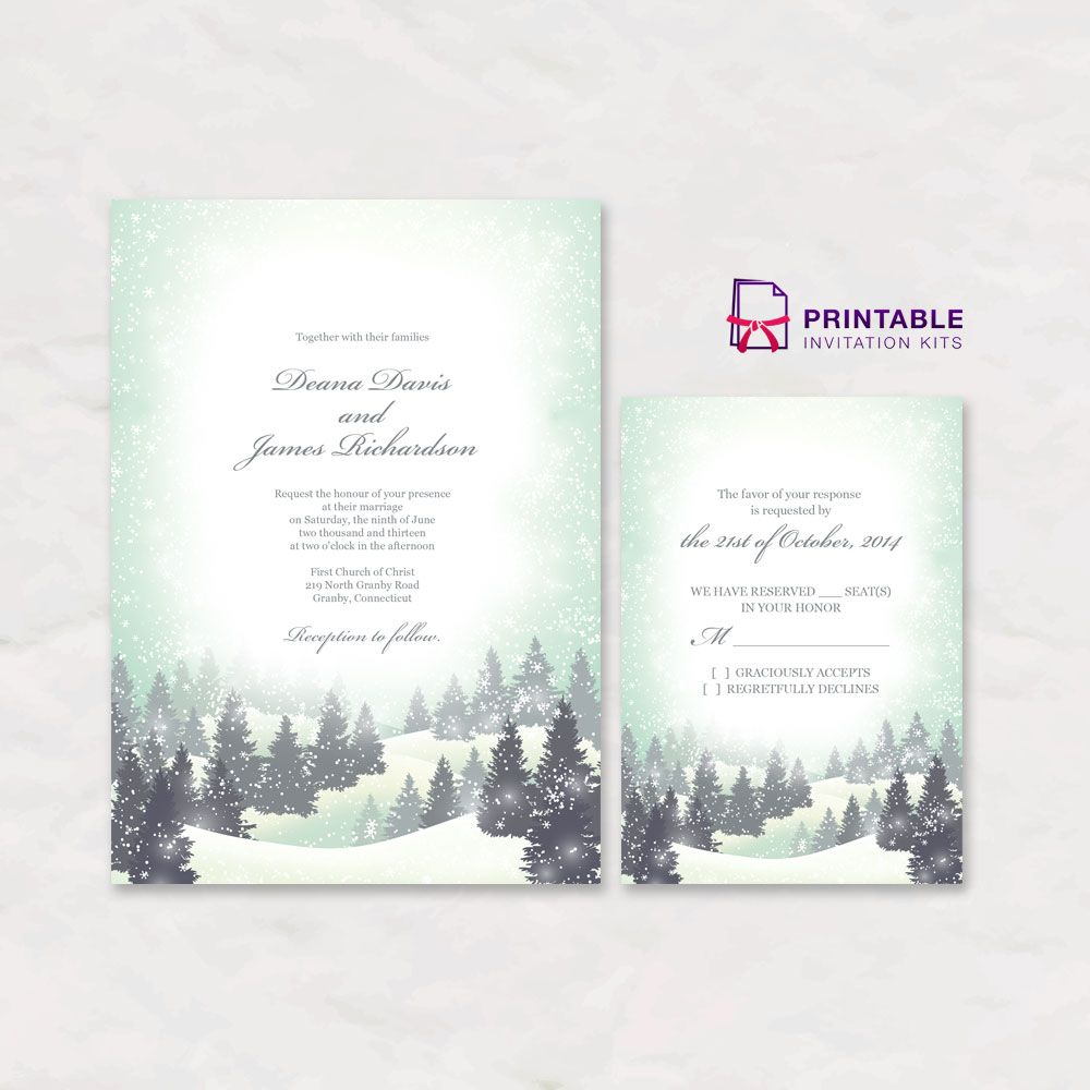 FREE PDF Download Winter Wonderland Wedding Invitation And RSVP - Wedding invitation templates: winter wedding invitation templates free