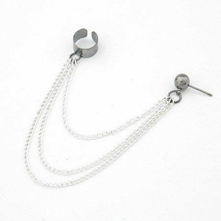 1x Silver Piercing Double Ear Cuff ring Chain Earring Stud Goth Punk Rock Biker