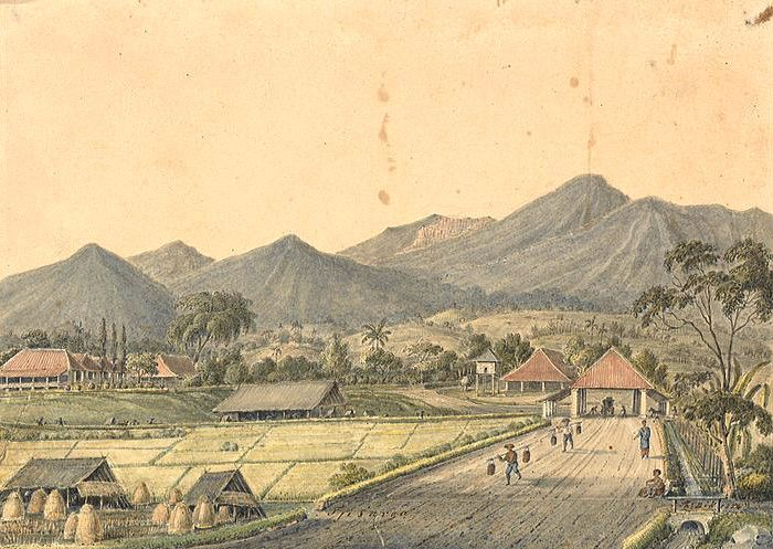 Lukisan Pemandangan Alam Dan Pos Peristirahatan Kuda Di Jalan Raya Pos Menuju Jalur Puncak Pas Bogor Jawa Barat 1819 1867 Pemandangan Lukisan Alam