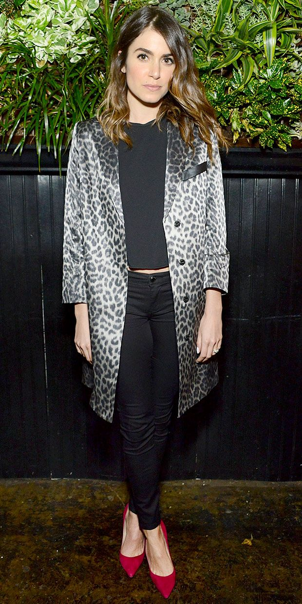 Nikki Reed wearing a Smythe leopard print coat, $78 skinny jeans, and Manono Blahnick red suede heels // Click to shop her look!