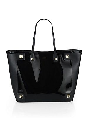 Furla Exclusively For Saks Fifth Avenue Daphne Patent And Leather Tote With Double Top Handles