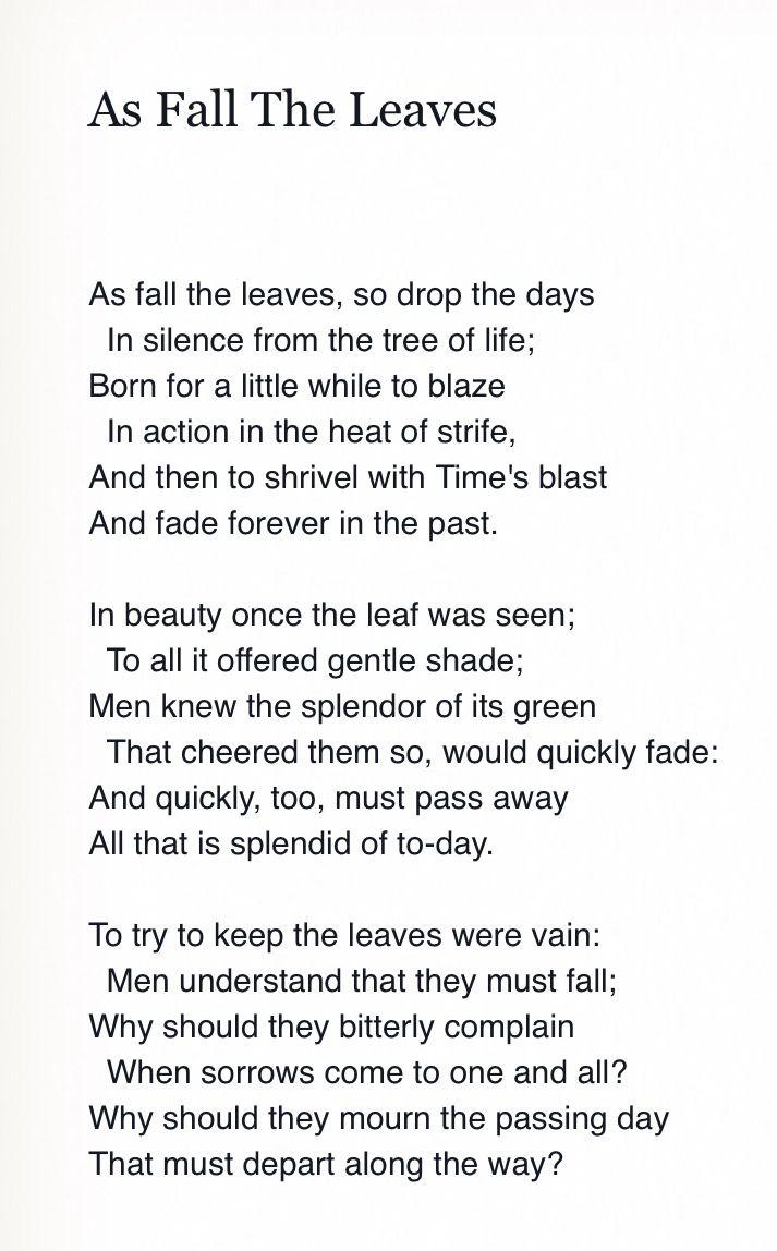 Applie To All Rain Shine Life Goe On Autumn Pinterest Poem My Love I A Fever Longing Still Analysis