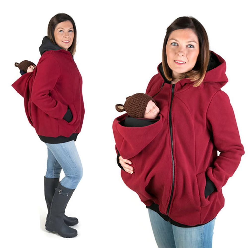 c878d6232b8c4 Winter Women Baby Carrier Jacket Kangaroo hoodie Maternity Outerwear for  Pregnant Thickened Pregnancy Baby Wearing Coat