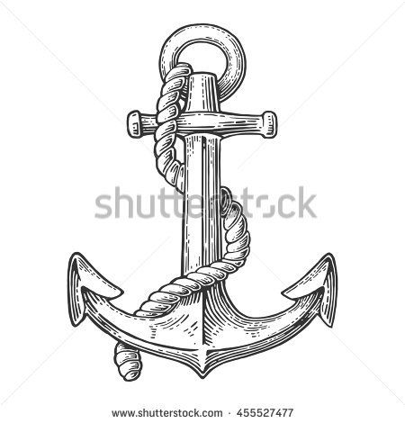 Anchor Isolated On White Background Vector Vintage Engraving