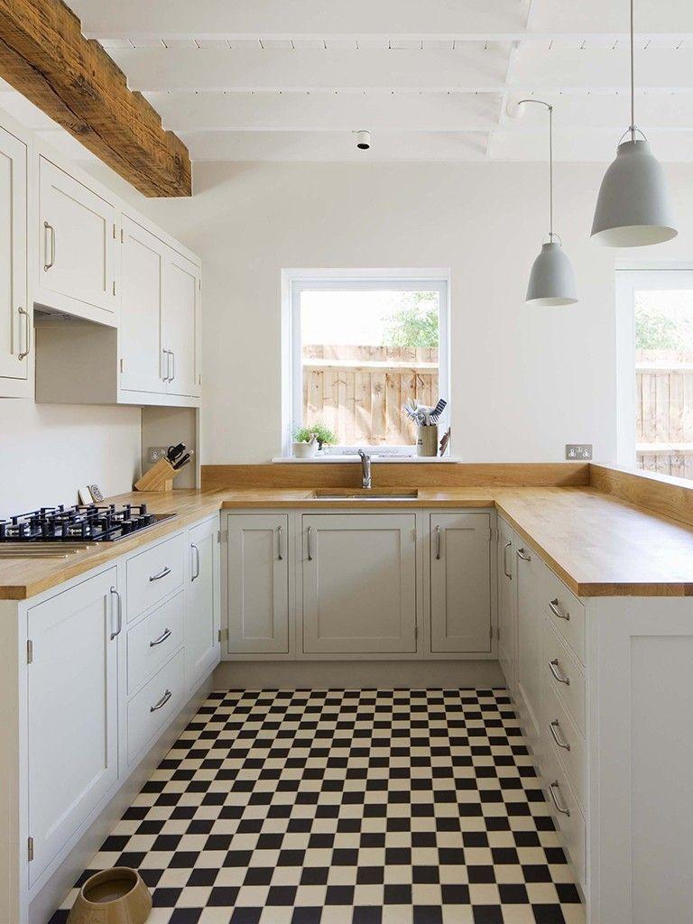 Piso quadriculado em cozinha cozinha pinterest for Kitchen located in front of house