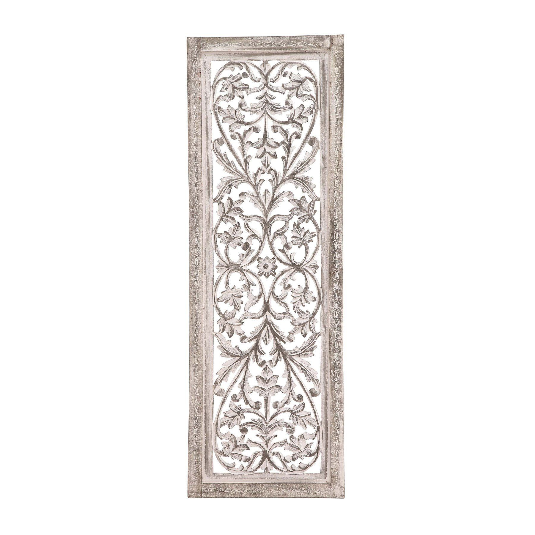 Decmode w x h in framed white floral carved wood scrollwork