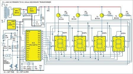 Pic Projects Alarm Clock And Temperature Indicator Electronics For You Clock Pic Microcontroller
