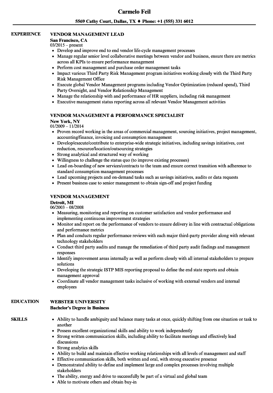resume examples vendor management examples management resume