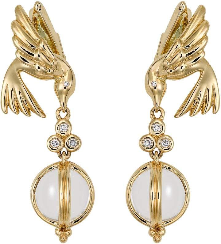 Temple St  Clair Crystal & Diamond Bird Drop Earrings in
