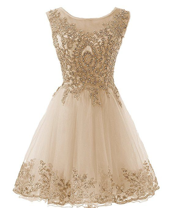 a39f89e6367 HEIMO Gold Lace Beaded Homecoming Dresses Short Sequined Appliques Cocktail  Prom Gowns H130 8 Champagne