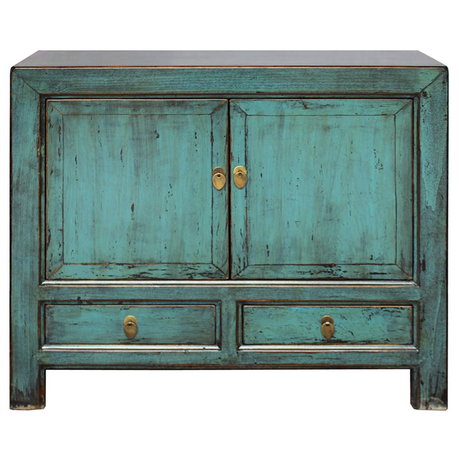 Jewel Toned Two Drawer Blue Green Lacquer Sideboard With Exposed Wood