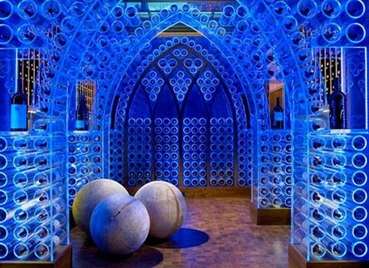 Electric Blue LED Wine Cellar with Gothic Flare by Beckwith Interiors   Inhabitat - Sustainable Design Innovation, Eco Architecture, Green Building