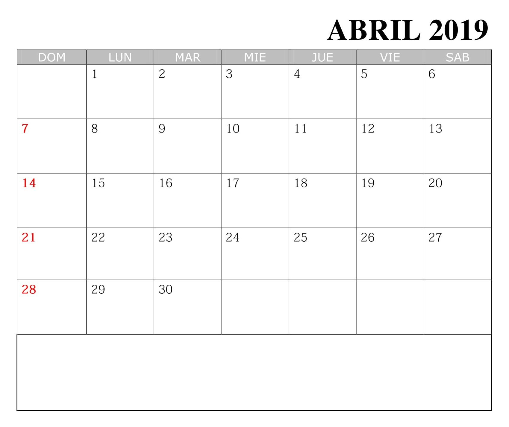 Calendario Imprimir Abril 2019.Calendario Abril