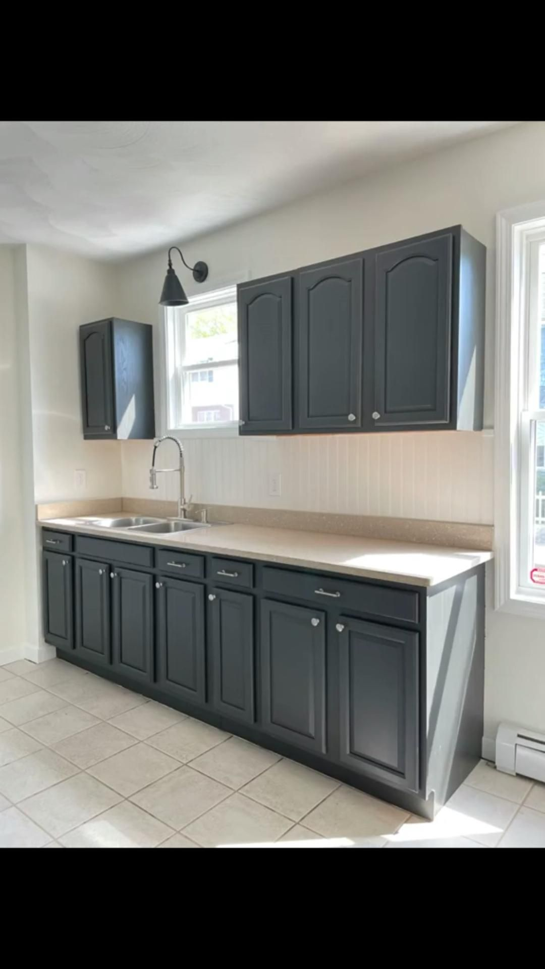 Ivory White and Java Stained Great Room Kitchen