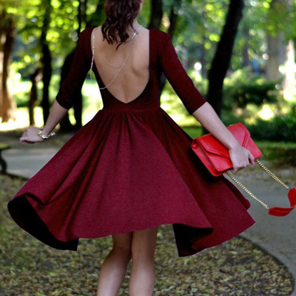 Backless striped sleeves kneelength dress dresses pinterest
