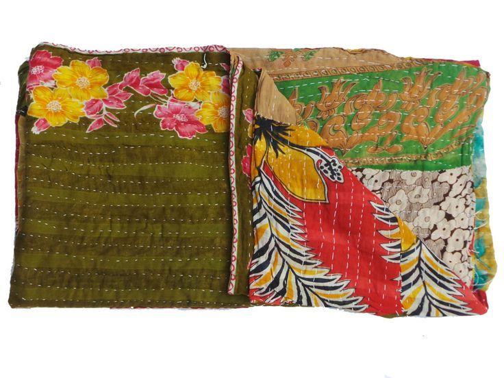 Twin Kantha Quilt Blanket Cotton Reversible Indian Kantha Bedspread Ralli Gudari