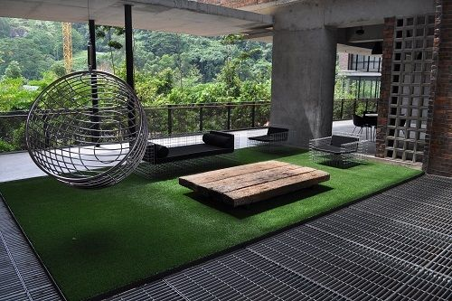 Fake Grass Rug in Outdoor Living Room in 2019 | Fake grass ...