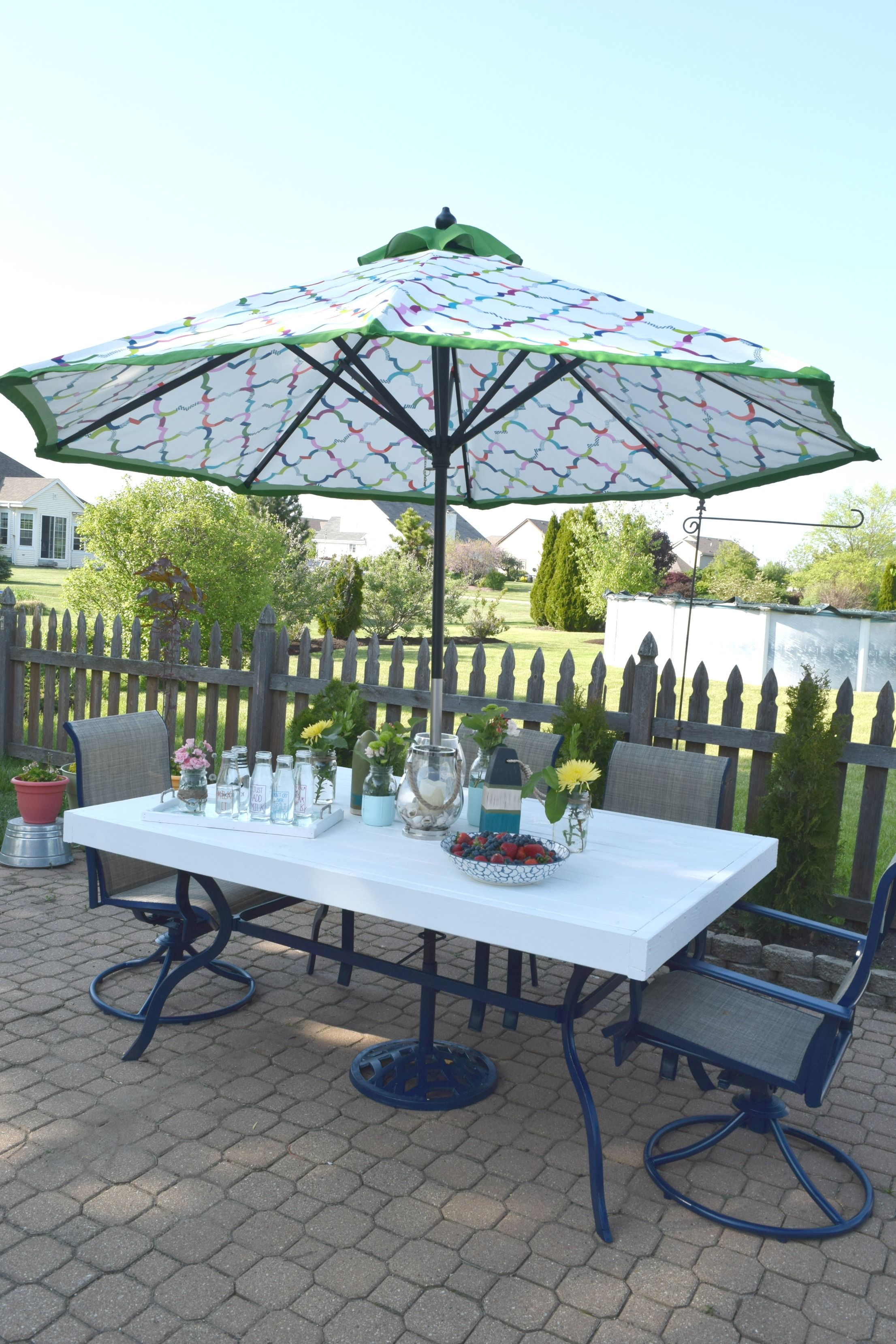 Patio table upcycle, low cost and simple to redo | Patio ... on Low Cost Patio Ideas id=71441