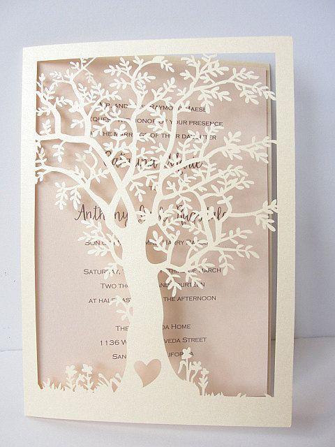 laser cut tree wedding invitation, fall wedding invitation, tree,