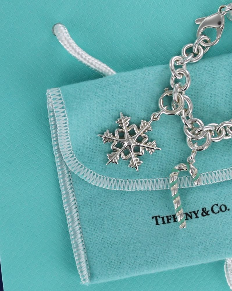 acf555269828 Tiffany   Co Blue Enamel Candy Cane   1st Edition LG Snowflake Charm  Bracelet  TiffanyCo
