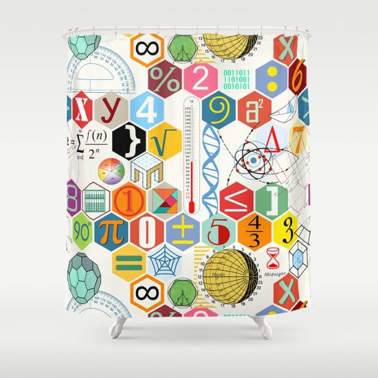Math In Color White Background Shower Curtain Shower Curtain