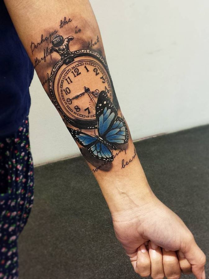 fd6460592 Pocket Watch and Butterfly Tattoo | Tattoo | Sleeve tattoos, Flower ...