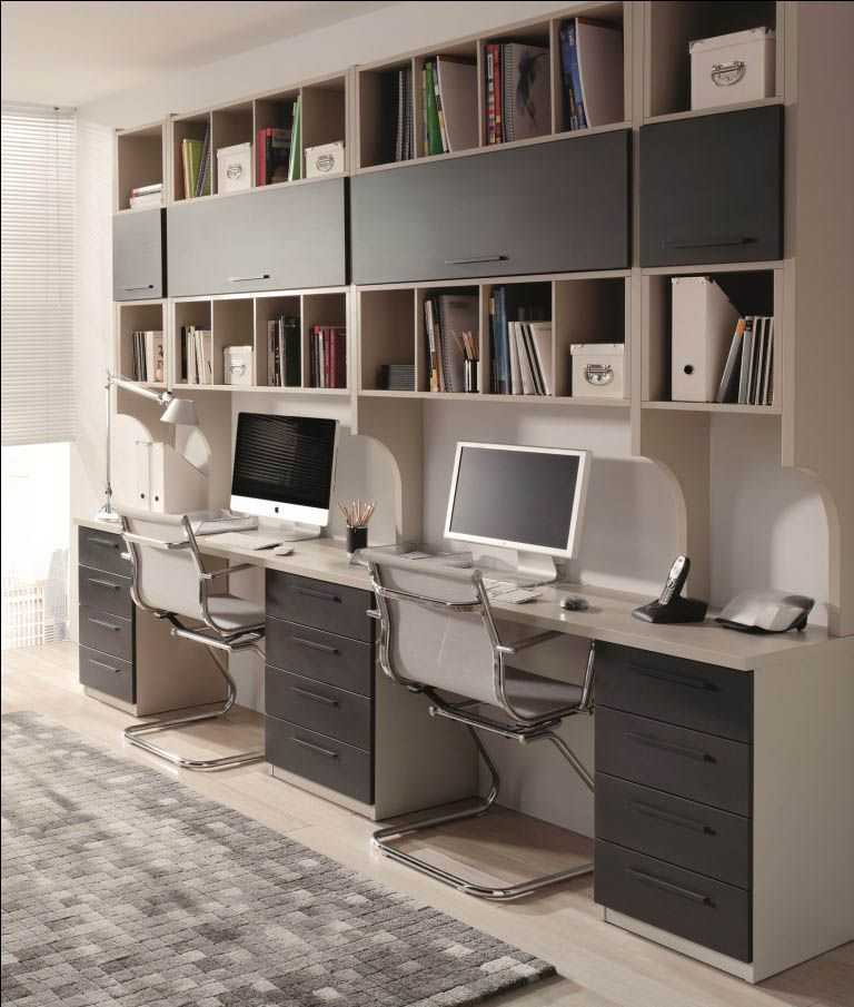 15 Awesome Home Office Designs To Boost Your Productivity: Mueble Oficina Escritorio Doble