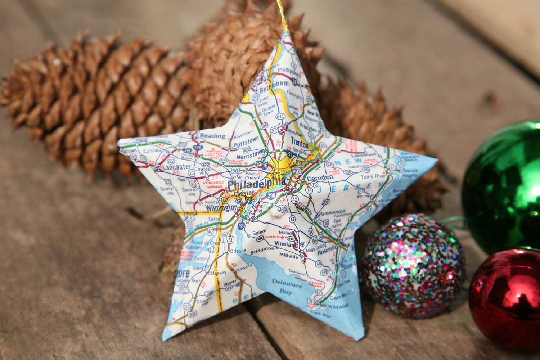 Philadelphia, Pennsylvania, - Vintage Map Covered Star Ornament - PA ...