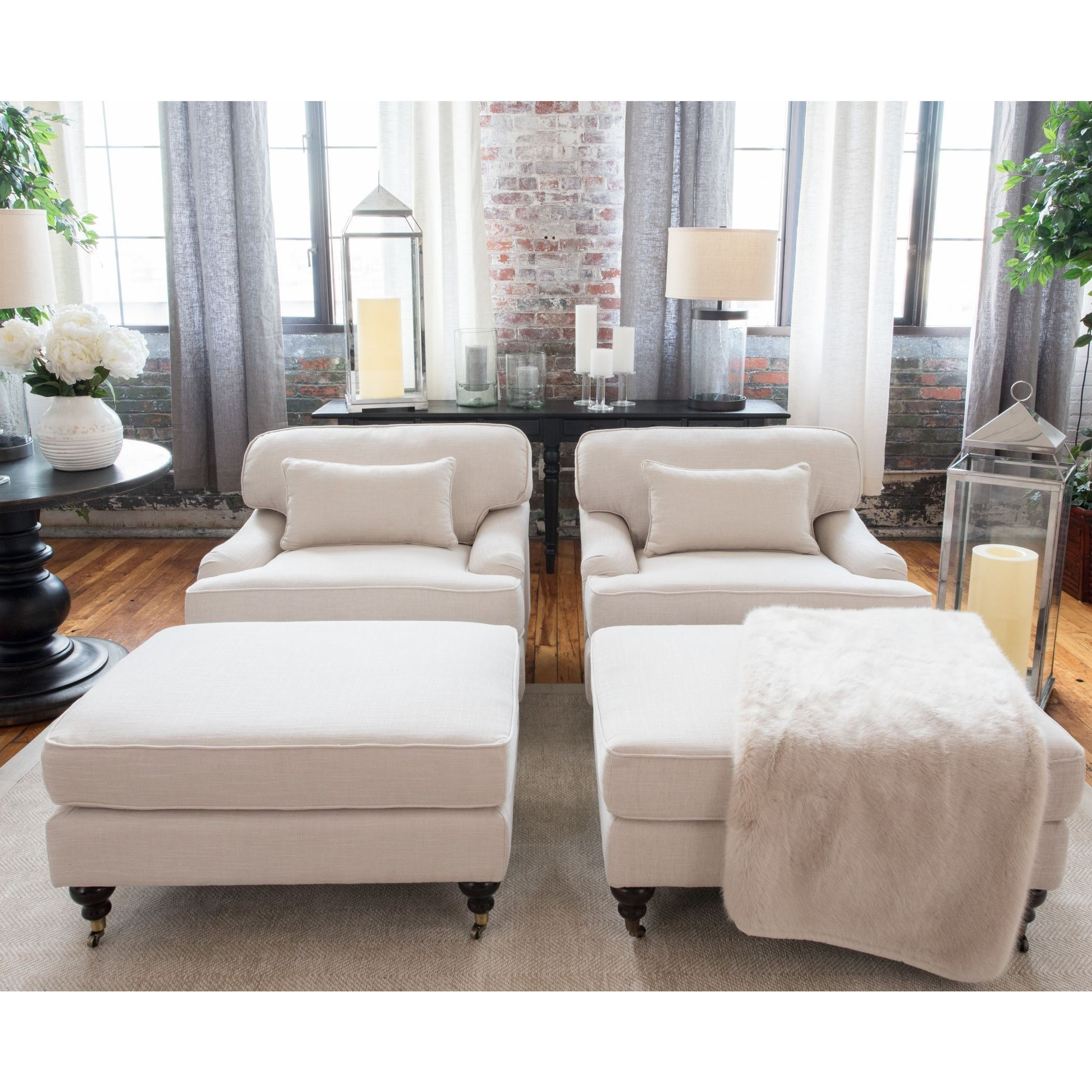 Elements Fine Home Furnishings Saint Tropez 4-Piece Collection Including 2-Standard Chairs and 2-Standard Ottomans